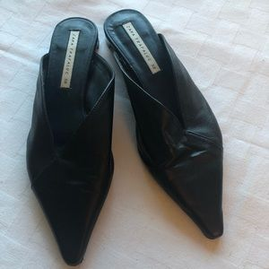 Black Zara real leather Pointed toe mules